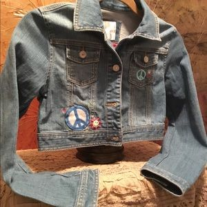 JUSTICE GIRLS DENIM JACKET WITH PATCHES SIZE 12